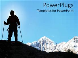 PowerPlugs: PowerPoint template with man climbing mountains in black color, snow big mountains in the background
