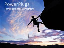 PowerPlugs: PowerPoint template with a man climbing the rock, success, hard work