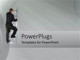 PowerPoint template displaying a man climbing a silver colored stair case on ash background