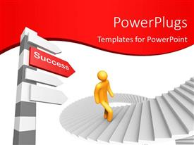 PPT theme having man climbing stairs to reach at top with success keyword on signpost