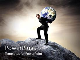 PowerPlugs: PowerPoint template with man climbing to top of rock with earth globe on his back