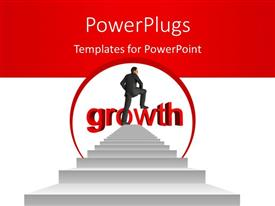 PowerPoint template displaying man climbing up growth stairs with 3D text growth