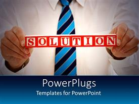 PowerPlugs: PowerPoint template with man in corporate attire holds up solution sign