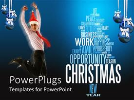 PowerPoint template displaying a man corporately dressed jumping for joy with a Christmas cap