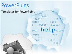 PowerPlugs: PowerPoint template with man crushed by office folder with help and numbers in background