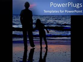Colorful presentation theme having man with daughter standing on beach sand watching sea waves