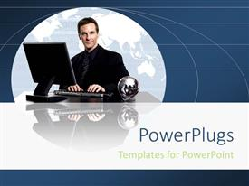 PowerPoint template displaying man dressed corporately centered in globe working on computer