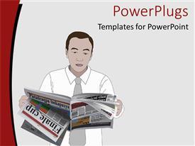 PowerPlugs: PowerPoint template with man dressed in formal attire goes through pages of newspaper