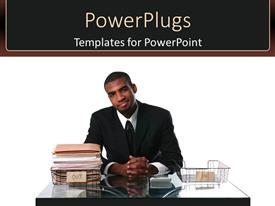 PowerPoint template displaying man dressed in suit with smile over face gets job completed