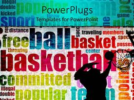 PowerPlugs: PowerPoint template with man dunking basketball into hoop in background with colorful basketball words