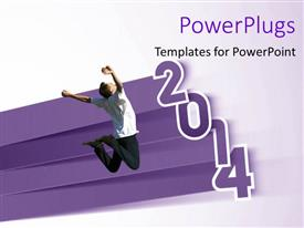 PowerPoint template displaying man excited with year 2014, with gradient