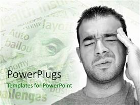 PowerPlugs: PowerPoint template with man facing challenges and financial problems hold head in pain