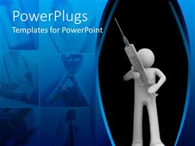 PowerPlugs: PowerPoint template with man figure carrying oversize syringe