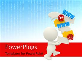 PowerPlugs: PowerPoint template with man with all forms of communication symbols loving technology with binary code in background