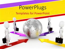 PowerPlugs: PowerPoint template with global business network depiction with four 3D businessmen around globe