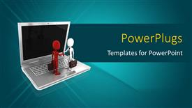 PowerPoint template displaying handshake of 3D business professionals on laptop