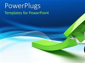 PowerPlugs: PowerPoint template with a white colored character pulling up a large green arrow
