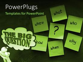 PowerPlugs: PowerPoint template with man with hand on chin faced with big questions