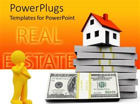 PowerPlugs: PowerPoint template with man with hand on chin looks at building over dollar bill stacks