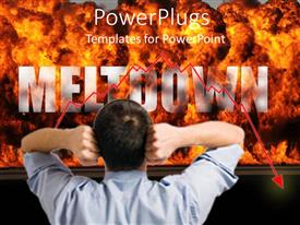 PowerPoint template displaying man with hands on head as he stares at fire explosion