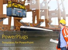 PowerPlugs: PowerPoint template with man with hardhat and papers watching over the unloading of containers at an industrial harbor