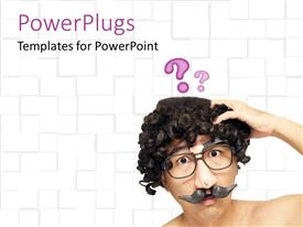 PowerPoint template displaying man head with funny nose with moustache and eyeglasses with question marks above head