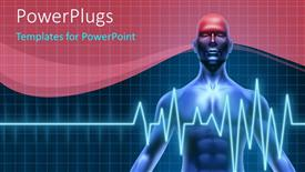 PowerPoint template displaying man with headache and heartbeat pulse shown