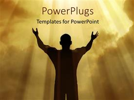 PowerPlugs: PowerPoint template with man holding arms up in praise against divine light from sky with clouds