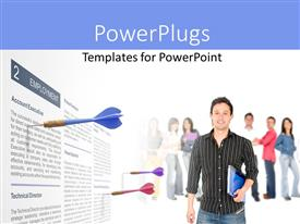 PowerPlugs: PowerPoint template with a man holding a book and smiling with three darts