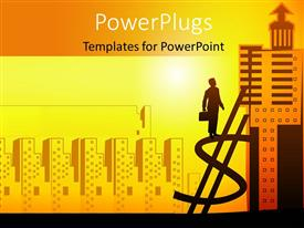 PowerPoint template displaying a man holding a briefcase standing on a dollar symbol