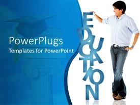 PowerPlugs: PowerPoint template with man holding education word and graduation cap on top of books on white and blue background