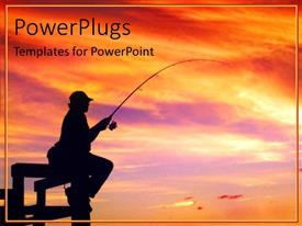 PowerPlugs: PowerPoint template with a man holding a fishing hook on an orange sunset view