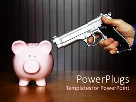 PowerPoint template displaying man holding hand gun pointed at piggy bank on brown surfece