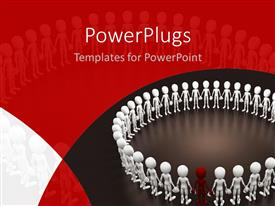 PowerPlugs: PowerPoint template with a circle of white 3D characters with a red one in between