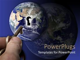 PowerPlugs: PowerPoint template with man holding key to keyhole on protrusion on earth globe