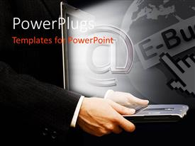 PowerPlugs: PowerPoint template with man holding laptop with email symbol popping out of screen
