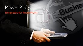 PowerPoint template displaying man holding laptop with email symbol popping out of screen