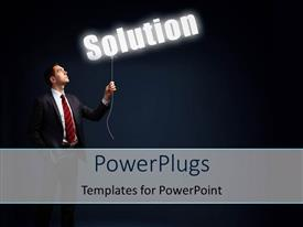 PowerPlugs: PowerPoint template with a man holding the lighted word Solution over dark background