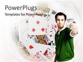 PowerPoint template displaying a man holding out some cards in his hands