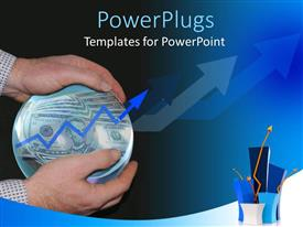 PowerPlugs: PowerPoint template with man holding transparent crystal ball filled with dollar notes and arrow