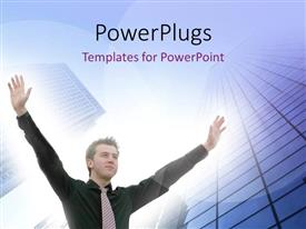 PowerPoint template displaying a man holding up his hands with bright light behind him