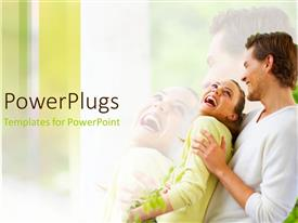 PowerPoint template displaying man holding woman as they laugh together