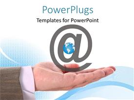 PowerPlugs: PowerPoint template with man holds large email symbol with earth globe in hand