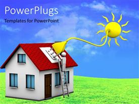 PowerPlugs: PowerPoint template with man who installs a solar energy system on a house