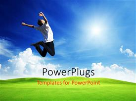 PowerPlugs: PowerPoint template with a man jumping happily in the air on a plain grass field