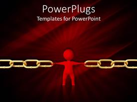 PowerPlugs: PowerPoint template with man keeping gold chain from breaking