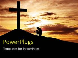 PowerPoint with a man kneeling in front of a large cross on a sunset view