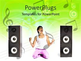 PowerPlugs: PowerPoint template with a man kneeling happily and shouting with a music theme