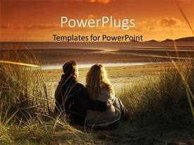 PowerPoint template displaying a man and a lady sitting together on a field