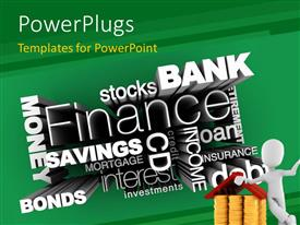PowerPlugs: PowerPoint template with man leaning on pile of gold coins with financial terms